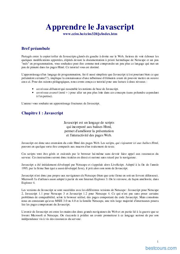 pdf  apprendre le javascript cours et formation gratuit