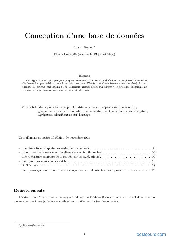 Tutoriel Conception d'une base de données 1