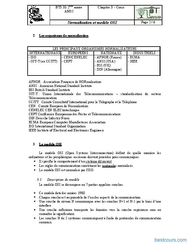 pdf  normalisation et mod u00e8le osi cours et formation gratuit