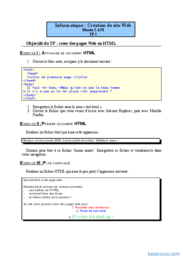 PDF Exercices HTML cours et formation gratuit