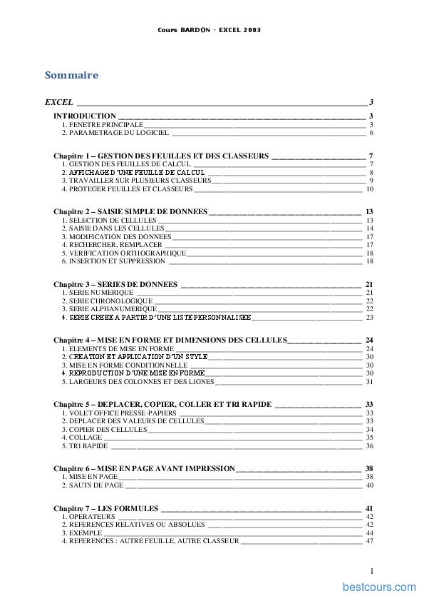 Tutoriel Cours Excel 2003 1