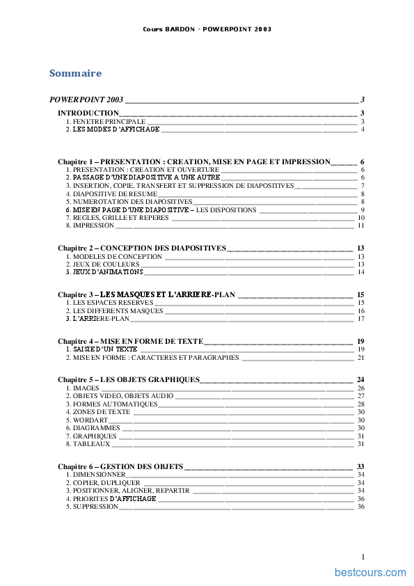 pdf  cours powerpoint 2003 cours et formation gratuit