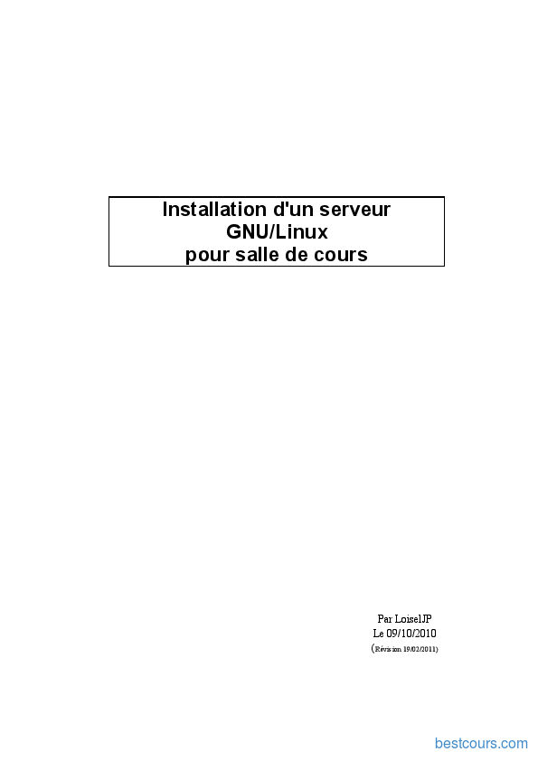 pdf  installation d u0026 39 un serveur gnu linux cours et