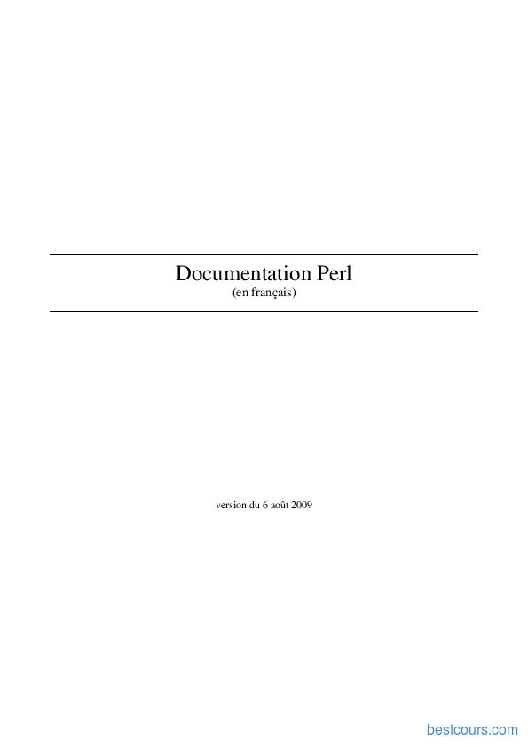 pdf  documentation perl cours et formation gratuit