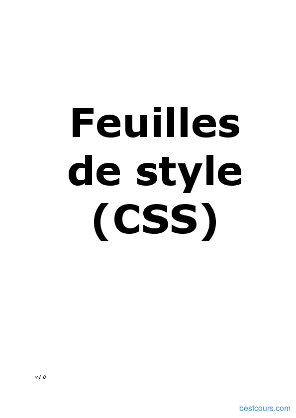 Pdf Feuilles De Style Css Cours Et Formation Gratuit