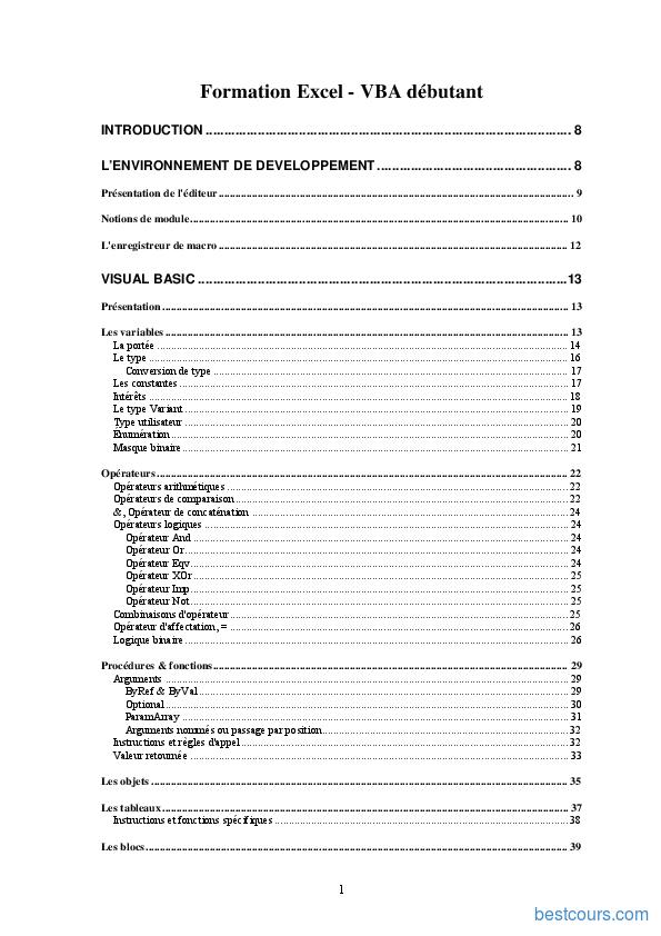 Tutoriel Cours Excel VBA 1