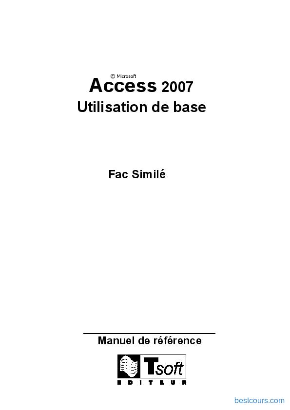 Tutoriel Access 2007 Utilisation de base 1