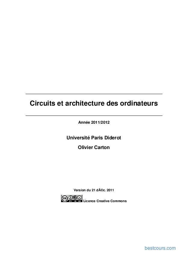 Tutoriel Circuits et architecture des ordinateurs 1