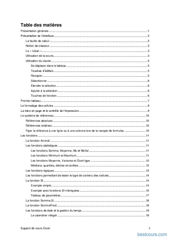 Tutoriel Support de cours Excel 2