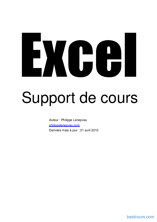 Tutoriel Support de cours Excel 1