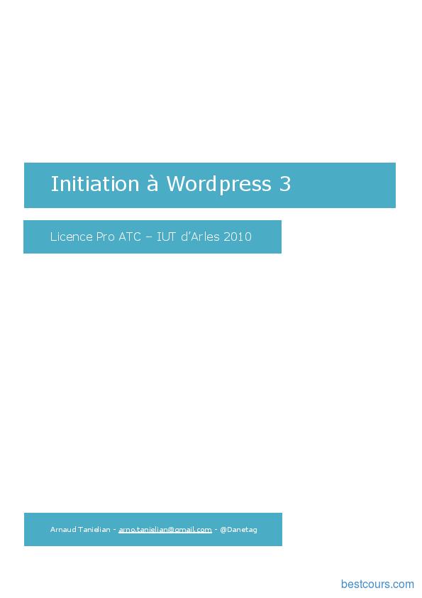 pdf  initiation  u00e0 wordpress 3 cours et formation gratuit