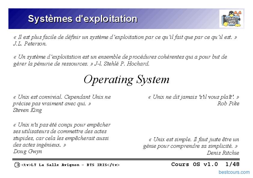 pdf  syst u00e8mes d u0026 39 exploitation  os  cours et formation gratuit