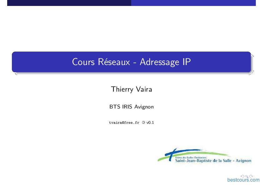 pdf  r u00e9seaux et adressage ip cours et formation gratuit