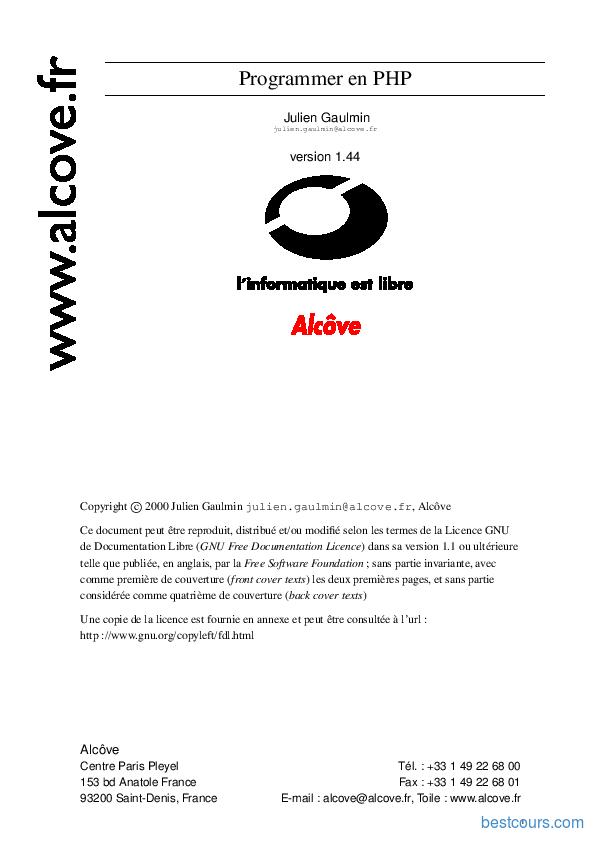pdf  programmer en php cours et formation gratuit