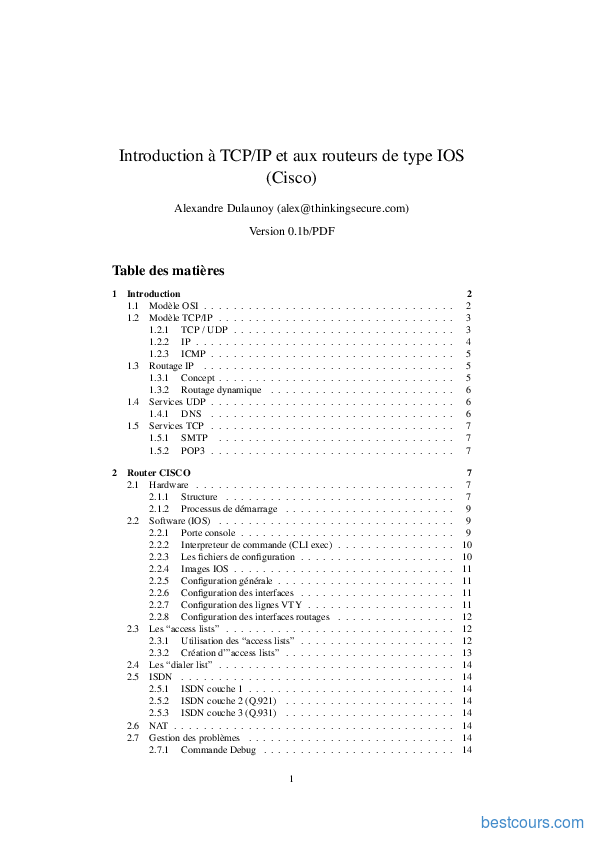 pdf  introduction  u00e0 tcp  ip et aux routeurs de type ios  cisco  cours et formation gratuit