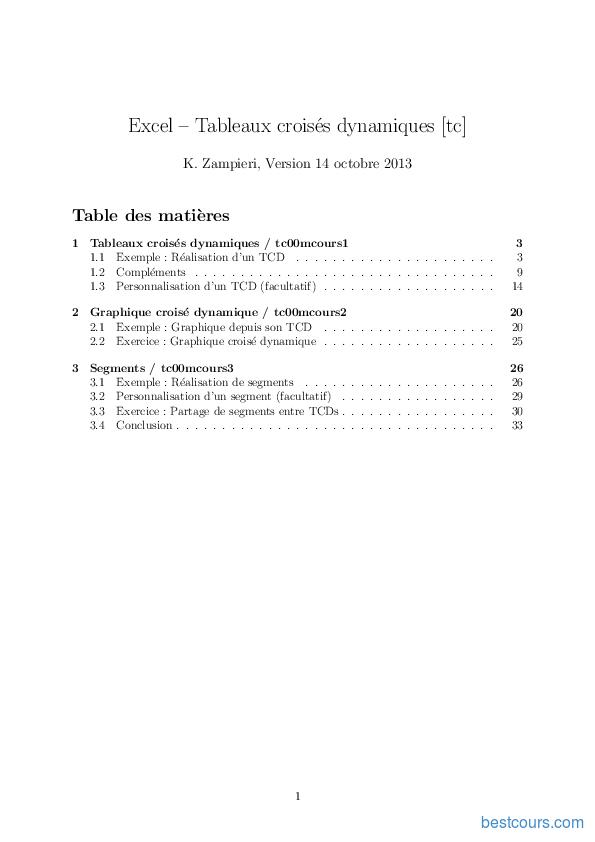 Pdf Excel Tableaux Croises Dynamiques Cours Et Formation Gratuit