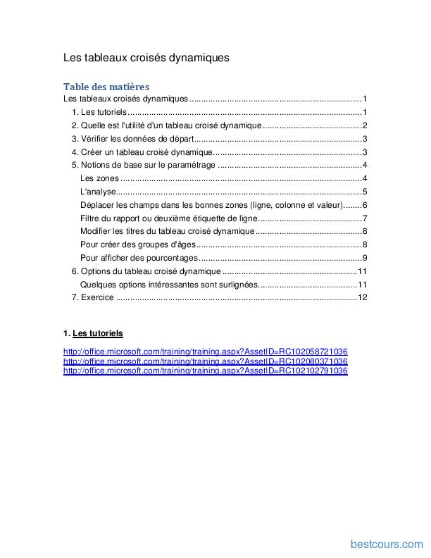 Pdf Les Tableaux Croises Dynamiques Cours Et Formation Gratuit