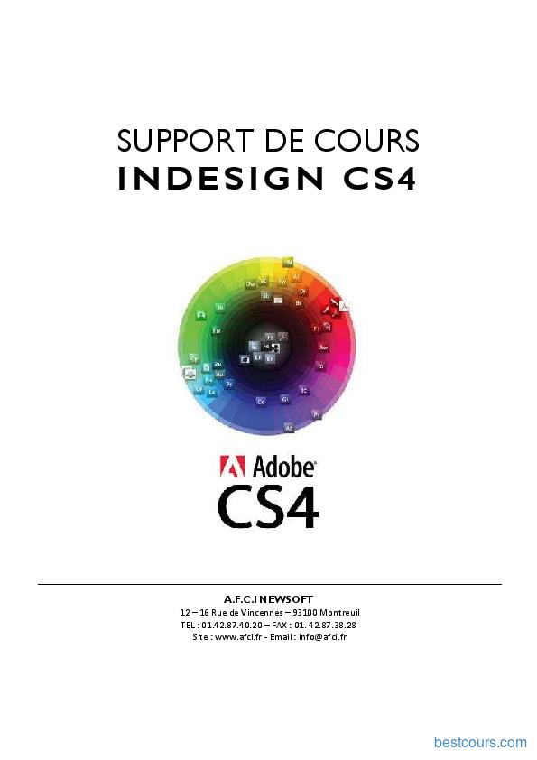pdf support de cours indesign cs4 cours et formation gratuit. Black Bedroom Furniture Sets. Home Design Ideas