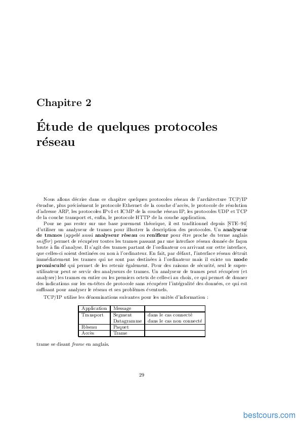 pdf  etude de quelques protocoles r u00e9seau cours et