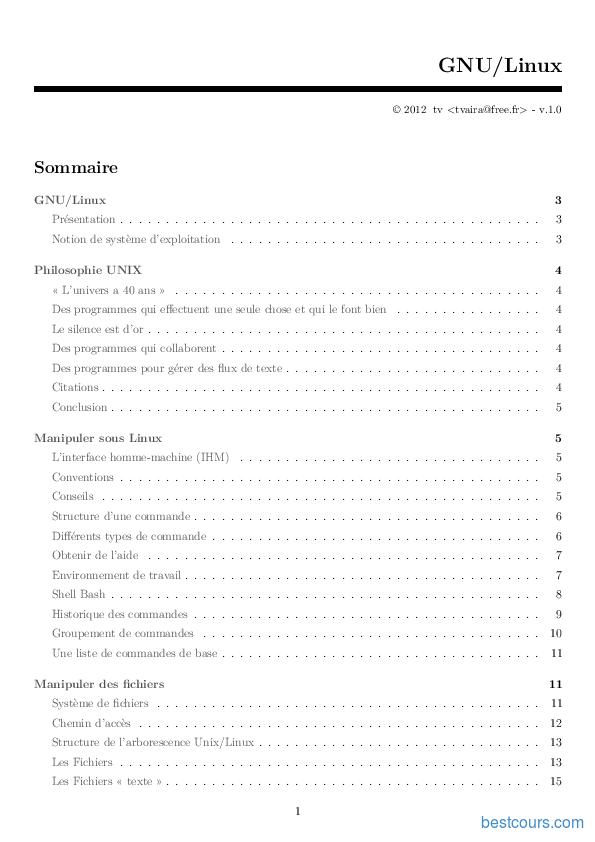Tutoriel GNU/Linux 1