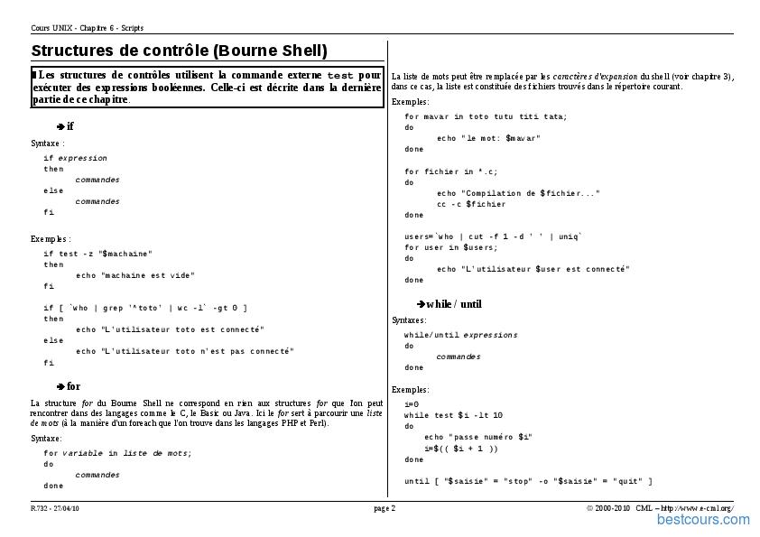Tutoriel Unix/Linux Les scripts 2