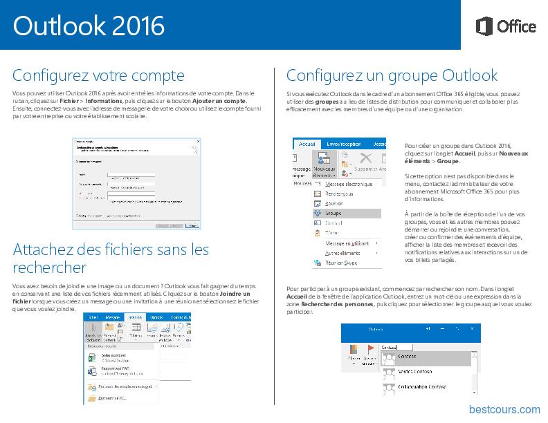Tutoriel Outlook 2016 Guide de démarrage rapide 2