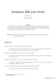 Tutoriel Rudiments SQL pour Oracle 1