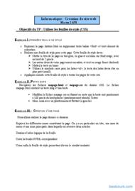 Tutoriel TPs CSS 1