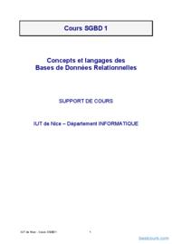 Tutoriel Cours SGBD 1 1