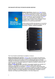 Tutoriel Windows Home Server 1