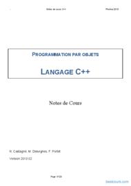 Tutoriel Programmation par objets langage C++ 1