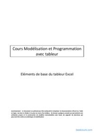 Tutoriel Eléments de base du tableur Excel 1