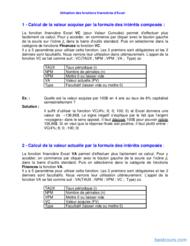 Tutoriel Utilisation des fonctions financières d'Excel 2