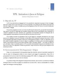 Tutoriel TP: Initiation à Java et Eclipse  2