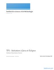 Tutoriel TP: Initiation à Java et Eclipse  1