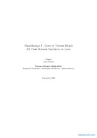 Tutoriel Algorithmique - Cours et Travaux Dirigés 1