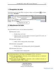 Tutoriel GUIDE Word MAC 2008 débutante 2