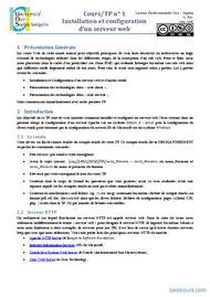 Tutoriel Installation et configuration d'un serveur web - TP 1