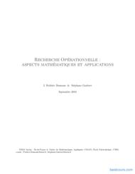 Tutoriel Recherche Opérationnelle : aspects mathématiques et applications 1