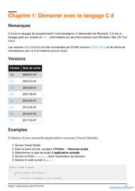 Tutoriel Apprenez le langage C# 2