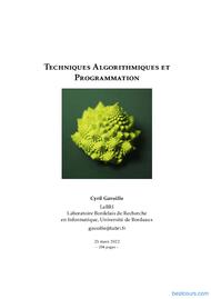 Tutoriel Techniques Algorithmiques et Programmation 1
