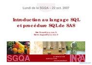 Tutoriel Introduction au langage SQL et procédure SQL 1