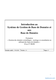 Tutoriel Introduction au SGBD 1