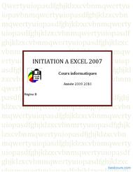 Tutoriel Initiation à Excel 2007 1