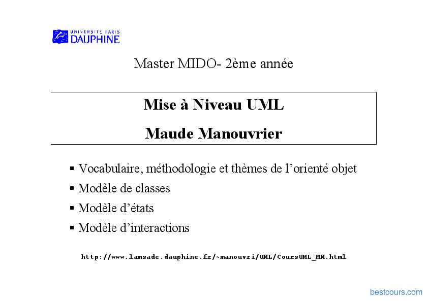 Tutoriel Mise à Niveau UML 1