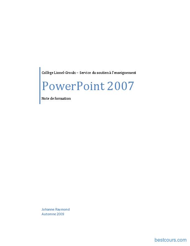 Tutoriel PowerPoint 2007 1