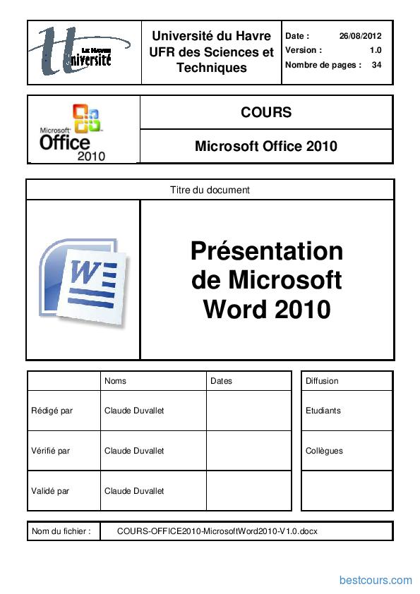 Tutoriel Présentation  de Microsoft  Word 2010 1