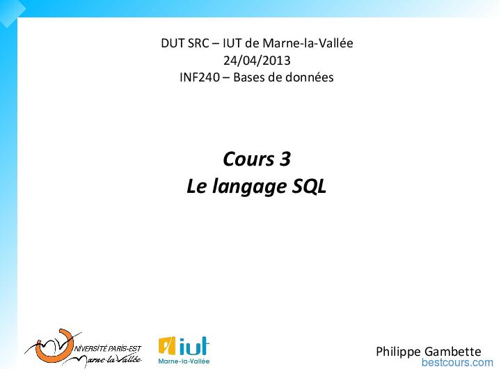 Tutoriel Le langage SQL 1