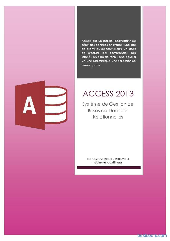 pdf  microsoft access 2013 cours et formation gratuit