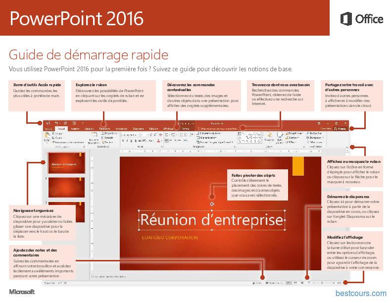 Tutoriel PowerPoint 2016 Guide de démarrage rapide 1